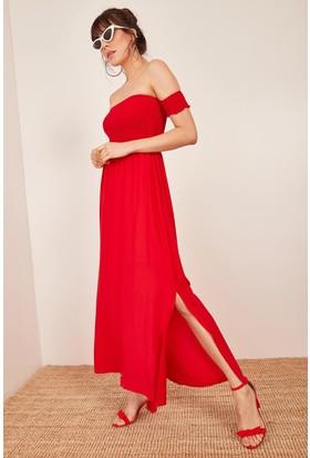 e61f3bf1dd218 ... Lafaba Kadın Kırmızı Düşük Omuzlu Lastikli Elbise ...