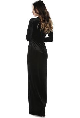 6ixty8ight Siyah Kadife Kruvaze Uzun Abiye Elbise