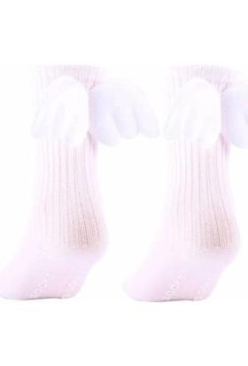2Mstore Melek Kanatlı Krem Rengi Diz Altı Çorap