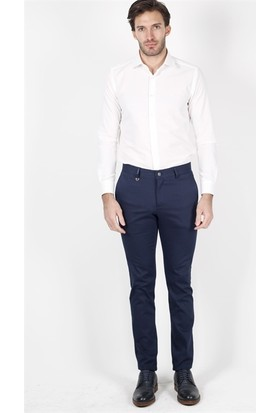 Jakamen Desenli Ekstra Dar Kalıp - Extra Slim Fit Lacivert Spor Pantolon