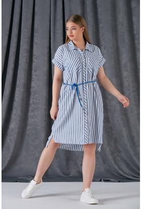 0bde83219cedf ... Rmg Bağcık Detaylı Çizgili Büyük Beden Keten Elbise ...
