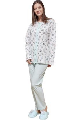 a962da35fb4ef Şık Mecit 5048 Pamuk Uzun Kollu Büyük Beden Kadın Pijama Takımı