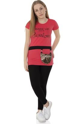 Toontoy Kız Çocuk T-Shirt Önü Çantalı