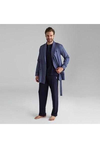 U.S. Polo Assn. Erkek Damat Çeyiz Pijama Takım Robdöşambr Lacivert 12000