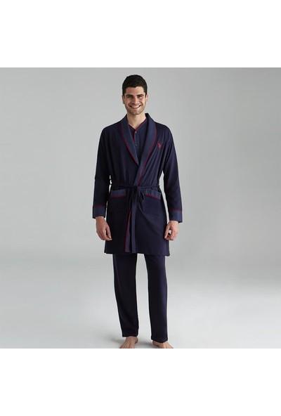 U.S. Polo Assn. Erkek Damat Çeyiz Pijama Takımı Robdöşambır Lacivert 12001