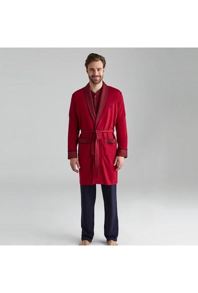 U.S. Polo Assn. Erkek Damat Çeyiz Pijama Takımı Robdöşambır Bordo 12001