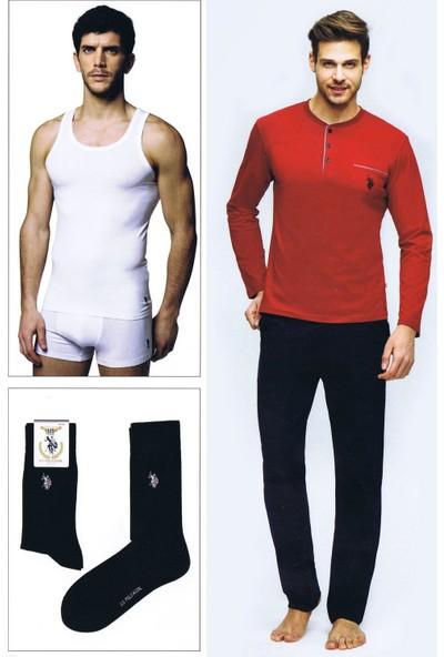 U.S. Polo Assn. Erkek Damat Çeyiz Pijama Çamaşır Takım 4Lü Bordo 17394