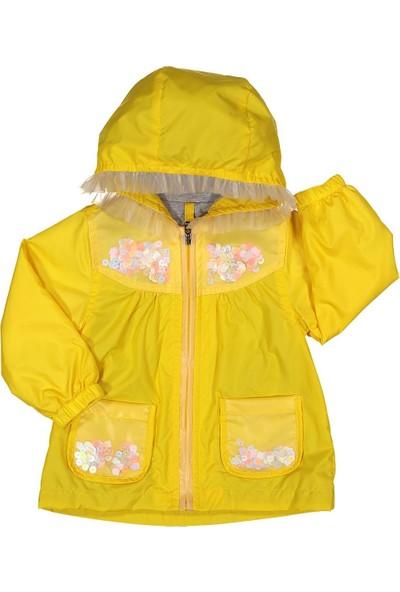 Midimod Kız Çocuk Yağmurluk Mont Trençkot 2-5 Yaş Sarı M19112