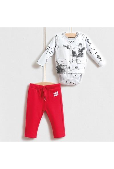 Wogi Kız Bebek Badi Yelek Pantolon 3Lü Takım 3-18 Ay 5244