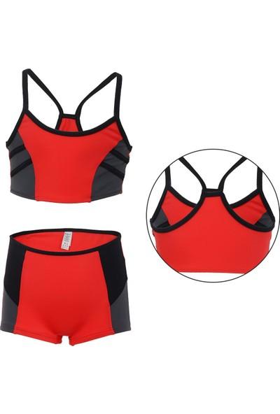Dagi Kız Çocuk Bikini Takımı Şortlu Yüzücü Sporcu 5-12 Yaş 4503Cb