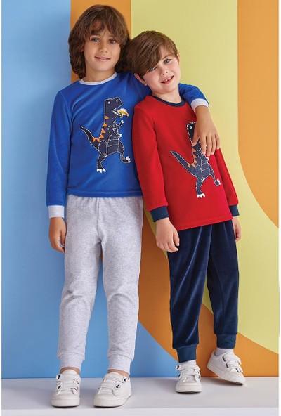 Roly Poly Erkek Çocuk Pijama Kadife Takım 1-8 Yaş Mavi 1334
