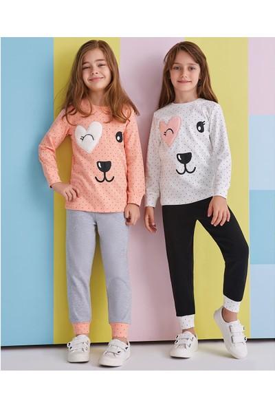 Roly Poly Kız Çocuk Pijama Takımı Uzun Kollu 1-8 Yaş Krem 1356