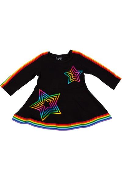 Nnk Gökkuşağı Desenli Mevsimlik Elbise Siyah