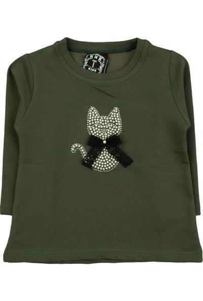 Nnk Dantelli Kurdelalı Kedi Desenli Yeşil Sweat
