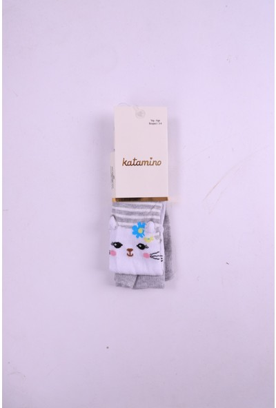 Katamino Kedi Desenli Külotlu Çorap