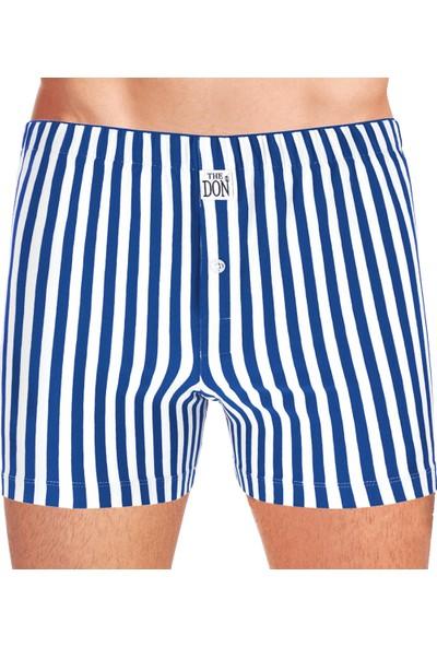 The Don Erkek Boxer Jersey Penye-Örme Koyu Mavi-Beyaz Çizgili