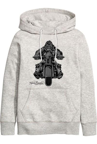Art T-Shirt Harley Gorilla Unisex Kapüşonlu Sweathirt