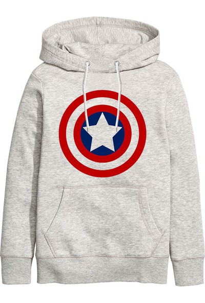 Art T-Shirt Captain America Unisex Kapüşonlu Sweathirt