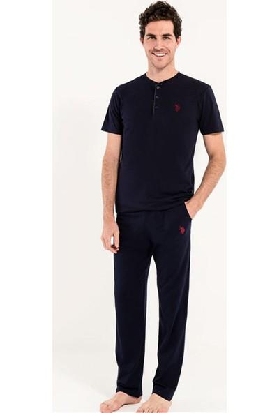 U.S. Polo Assn Erkek 3Lü Pijama Takımı 12005 Lacivert
