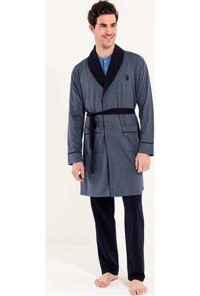 U.S Polo Erkek Robdeşambırlı Pijama Takımı 5Li Damat Seti 12003 Antrasit