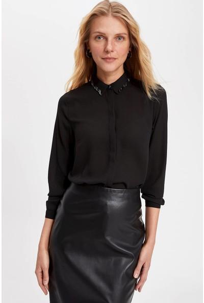 Defacto Pullu Yakalı Uzun Kollu Gömlek