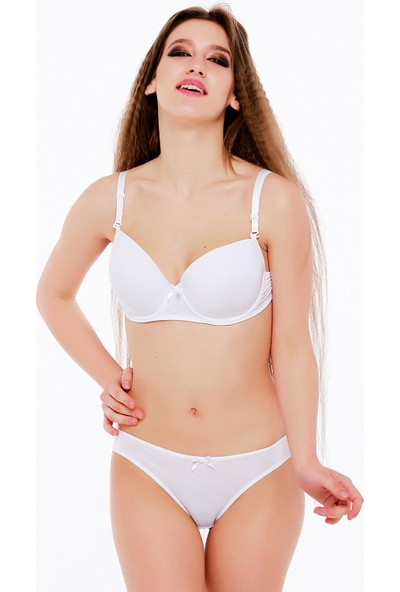 Mite Love Beyaz Sütyen Külot Takımı Desteksiz ML2264