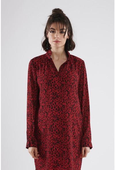 Lyn Devon Rosie Leopar Elbise - Kırmızı