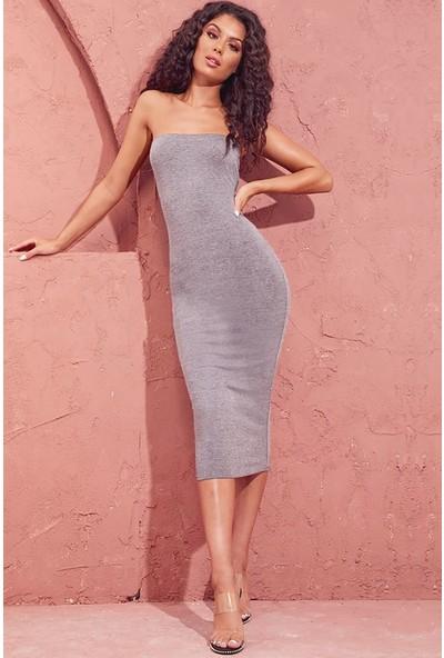 Red Hot Best Gri Melanj Straplez Uzun Elbise