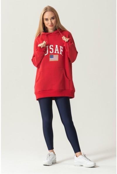 Livanomi Kapüşonlu Kırmızı Sweatshirt