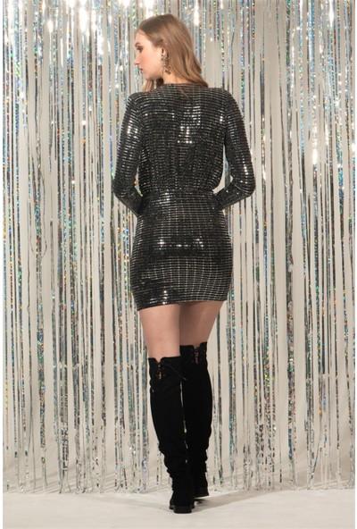 Livanomi Siyah Parlak Elbise