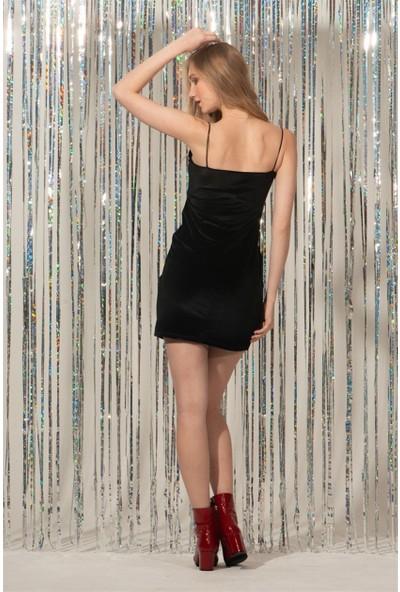 Livanomi Siyah Kadife Askılı Elbise