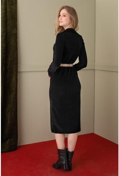 Livanomi Siyah Fitilli Kadife Elbise