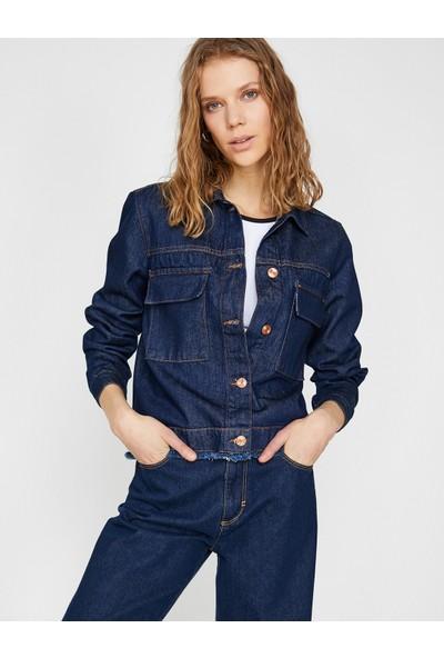 Koton Dügme Detaylı Jean Ceket