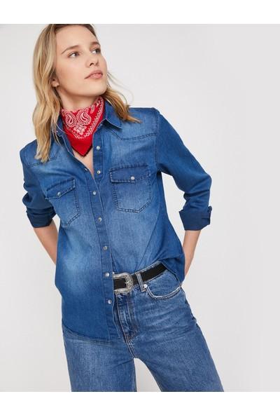 Koton Cep Detaylı Jean Gömlek