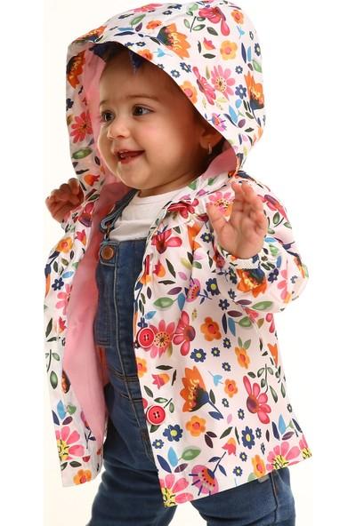 Midimod Çiçek Baskılı Su İtici Özellikli Kız Çocuk Yağmurluk
