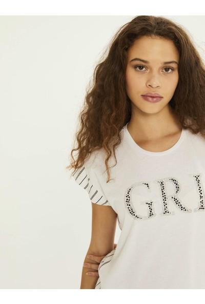 Xint Kadın Yuvarlak Yaka Taş İşlemeli Bluz