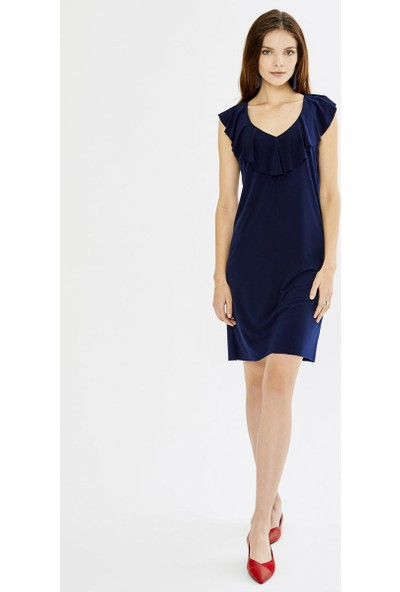 Xint Kadın Volanlı Yaka Kolsuz Mini Elbise