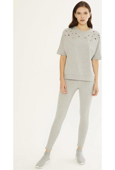Xint Kadın Düşük Kollu Kuş Gözü Detaylı Sweatshirt