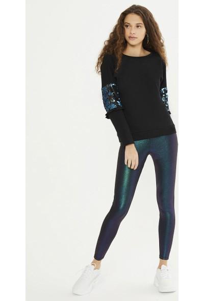 Xint Kadın Yuvarlak Yaka Kolları Payet İşlemeli Sweatshirt