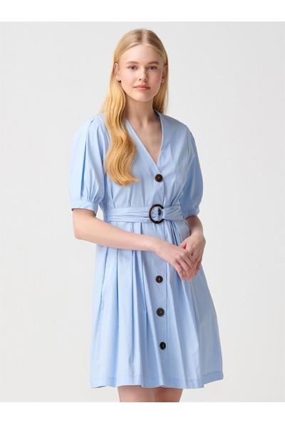 Dilvin 9940 V Yaka Pileli Kuşaklı Elbise Mavi