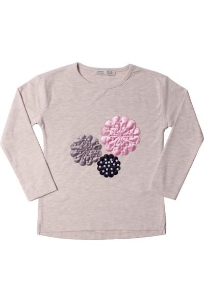 Toontoy Kız Çocuk Sweatshirt Çiçek Nakışlı Inci Çakma