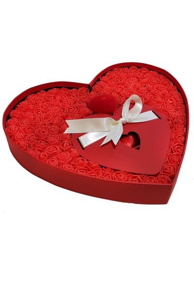 Chavin Tek Taş Kolye Kalp Kutulu Çikolata Kırmızı Güller Yap88
