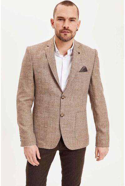 Defacto Mendil Detaylı Modern Fit Blazer Ceket