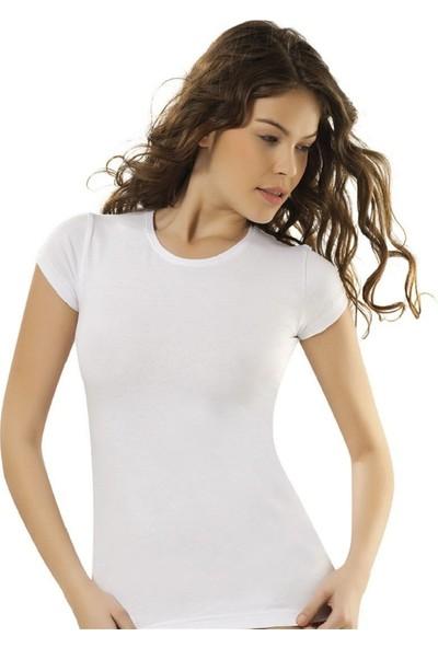 Donwear 2103 Yarım Kollu Bisiklet Yaka Kadın T-Shirt