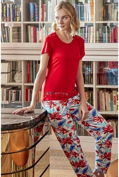 Anıl 9582 Kadın Pijama Pamuklu Üst Pantolon 2'li Takım