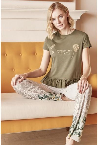 Anıl 9589 Kadın Pijama Pamuklu Baskılı Tshirt Pantolon