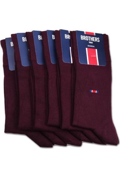 Brothers 6'lı Bordo Bambu Erkek Çorap CRP52