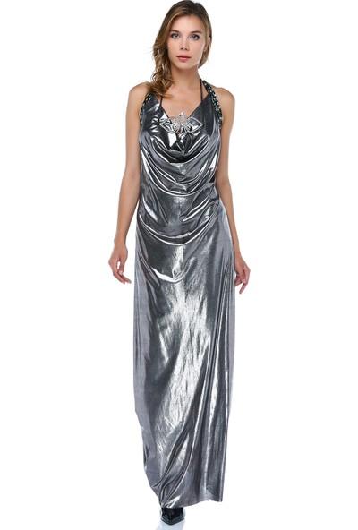 Tantrona Sırt Detayında Boncuk İşlemeli Metalik Kumaş Elbise