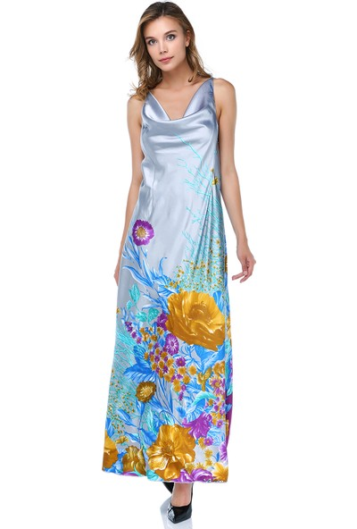 Tantrona Degaje Yaka İpek Saten Kumaş Elbise