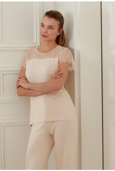 Feyza 3437 Sabahlıklı Kısa Kollu Kadın Pijama Takımı